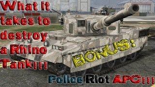 GTA Online - How to destroy a Rhino Tank!!!! - Bonus Police Riot APC!!!