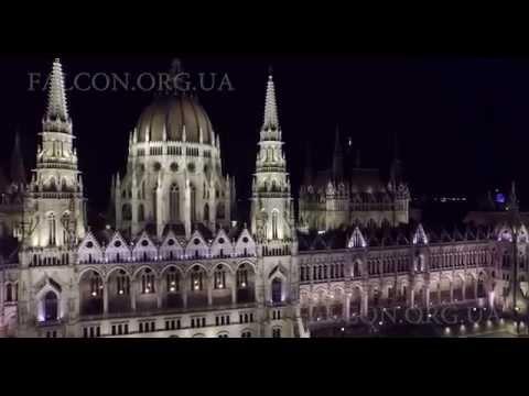 Hungarian Parliament Building. Aerial filming.