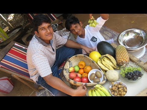 Village food factory / Mixed Fruit Salad recipe by Family in my village /fruit salad with ice cream
