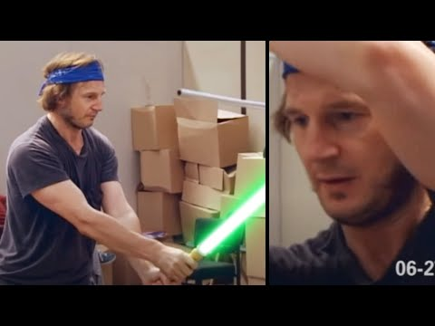 Liam Neeson and Ray Park Lightsaber Training on Set (Prime of the Jedi)