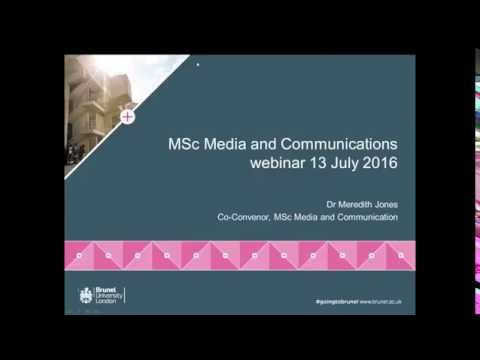 Media and Communications MSc Webinar | Wednesday 13 July 2016