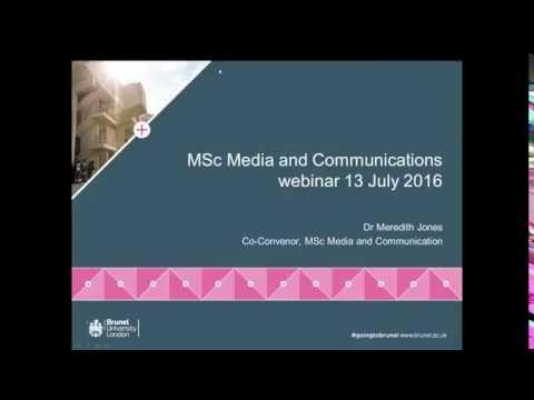 Media And Communications MSc Webinar   Wednesday 13 July 2016