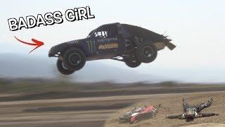 GIRL JUMPING RACE TRUCKS and riding DIRT BIKES!!!