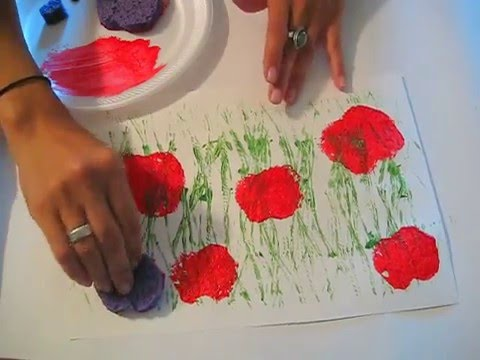 Poppy Field Printing A Toddler Preschool Art Lesson Youtube