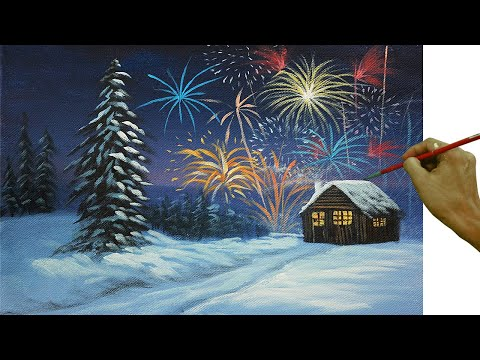 Acrylic Landscape Painting Tutorial Snowy Christmas Eve with Barn and Fireworks Easy and Basic