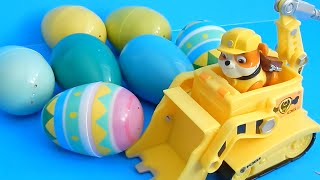 Paw Patrol Rubble Bulldozer Cleans Up Kinetic Sand Surprise Eggs Toy