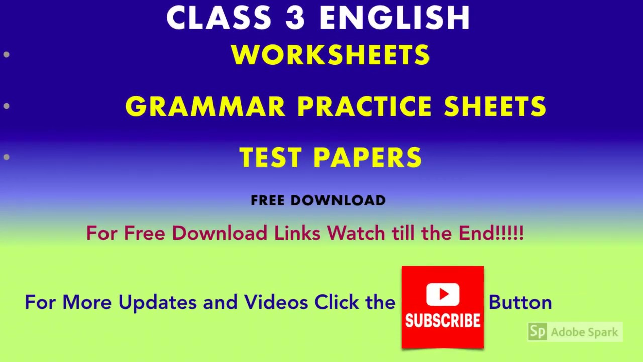 - English Worksheet For Class 3 Grammar Worksheets - YouTube