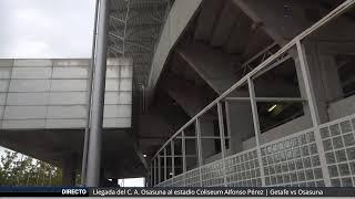 Llegada del C. A. Osasuna al estadio Coliseum Alfonso Pérez