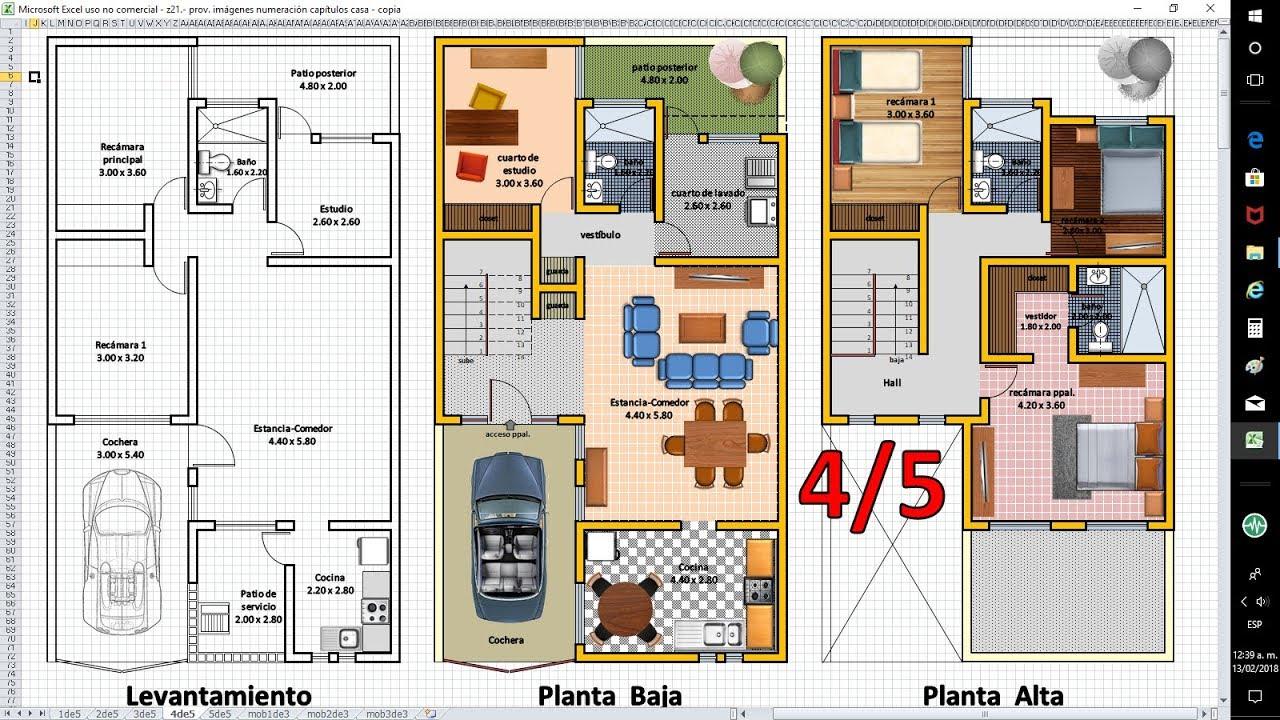 4 5 planos de casas con excel anteproyecto de ampliaci n for Como crear un plano de una casa