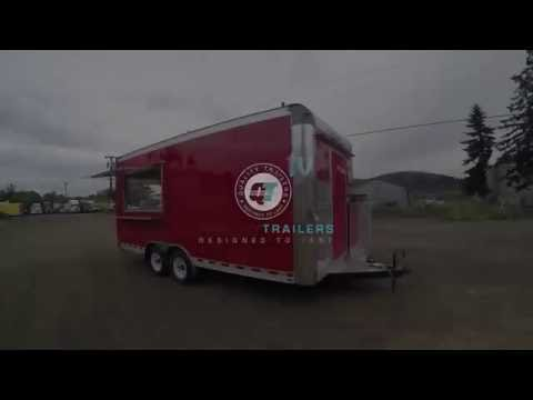 Red Custom Built Concession Trailer by Quality Food Trailers