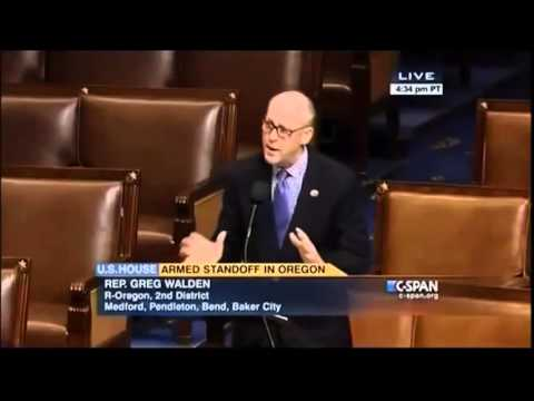 Congressman Greg Walden addresses U.S. House on situation in Harney County, OR