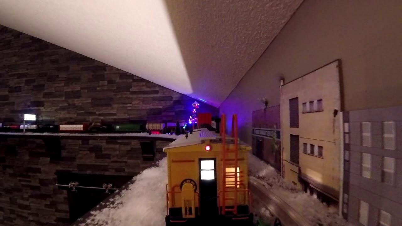 Shelf Train Layout - Camera on Train - Caboose POV