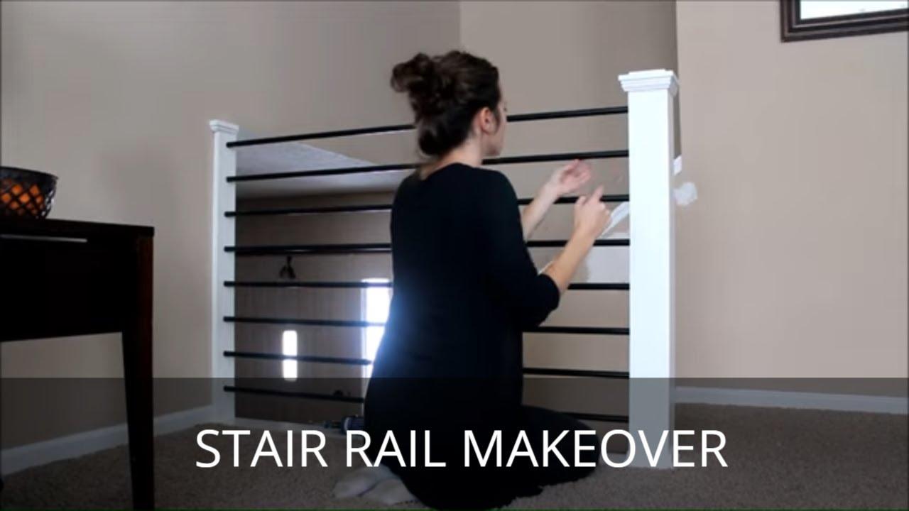 Diy Stair Railing Makeover Baluster And Newel Post Revamp Youtube | Split Level Stair Railing | Wrought Iron | Julia | Modern | Easy Diy | Fancy