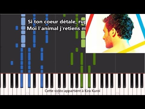 Amir - États d'amour - Karaoke / Piano synthesia tutorial (+ Paroles et partition)