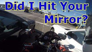 Motorcycle Hits Car Mirror