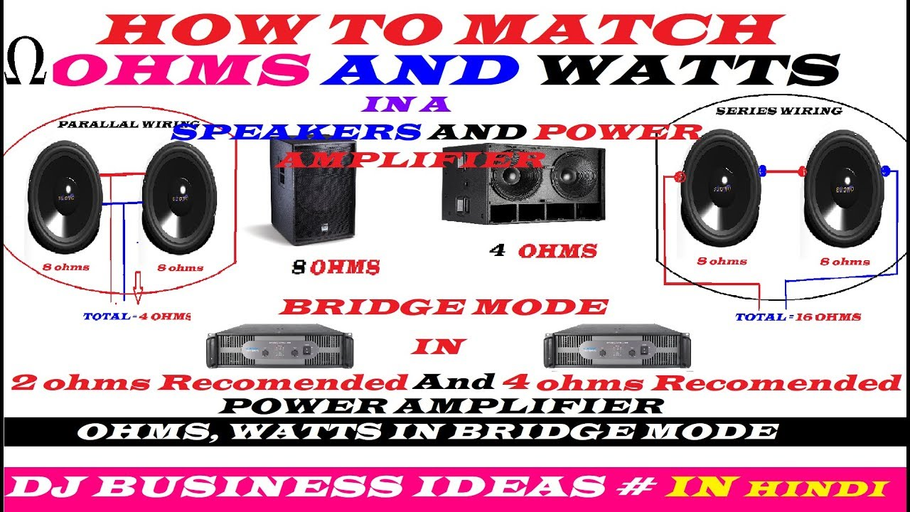 how to match ohms and watts in a speakers and power amplifier 2 ohms and 4 ohms bridge in hindi [ 1280 x 720 Pixel ]