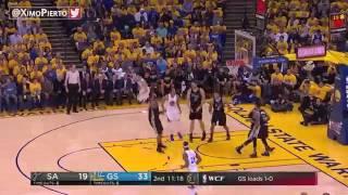 San Antonio Spurs vs Golden State Warriors   Game 2   1st Half Highlights   2017 NBA Playoffs