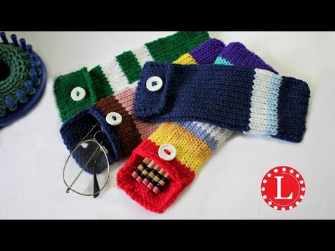 LOOM KNITTING Case for Pencils Glasses Hooks | Round Loom 24-pegs | Loomahat