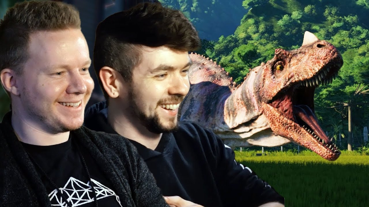 2 MEN IN A HOTEL ROOM WITH DINOSAURS