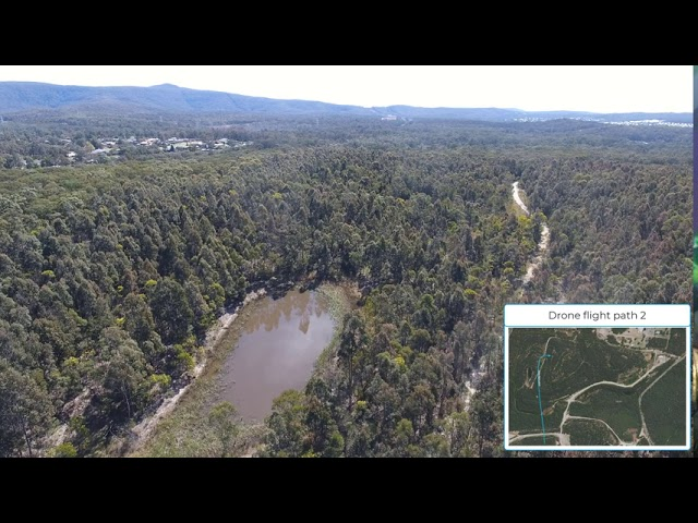 Drone flight path 2 over rehabilitation of the Westside former open cut mine