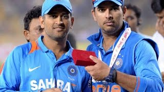 MS Dhoni And Yuvraj After Dhoni's Last Match As Captain In Dressing Room