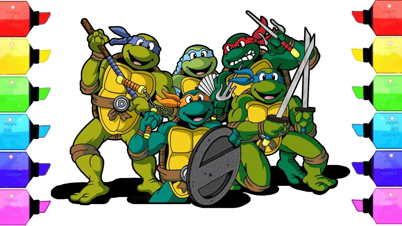 Teenage Mutant Ninja Turtles Coloring Book - Learn Colors - Coloring ...