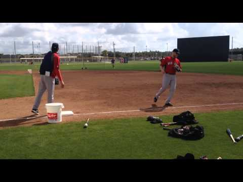 Xander Bogaerts, Will Middlebrooks, Dustin Pedroia Red Sox infield drills