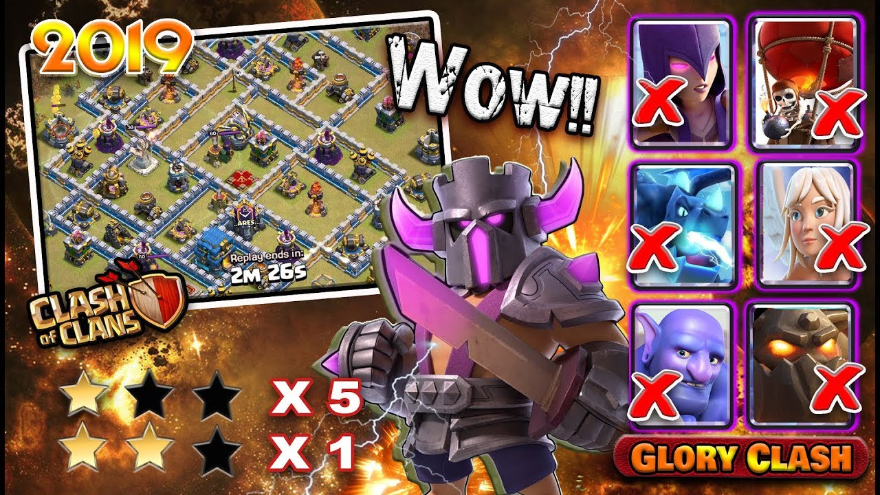 Wow!!Best TH12 War Base Anti 2 Star with 6Replays / Anti Lavaloon Anti  Bowitch/GloryClash 2019