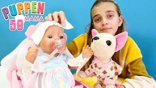 Spielzeugvideo für Kinder Puppen Mama. Rose hat Fieber. Spielspaß mit Baby Born