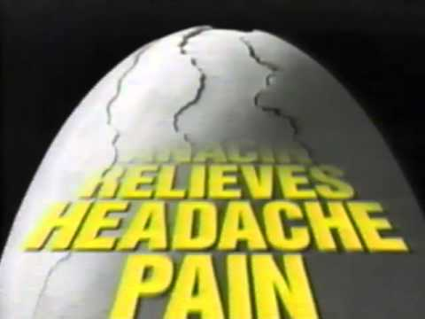 Splitting Eggshell Anacin Pain Reliever Commercial, 1991