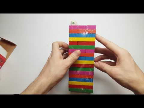 Игра Дженга цветная с кубиком 54 бруска Tower Pile-Up