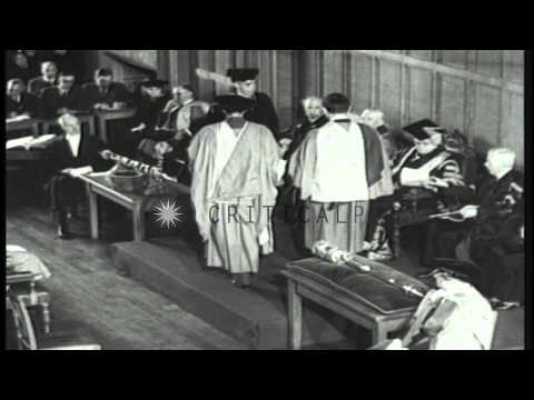 Prime Minister Churchill visits Bristol England and presides over academic ceremo...HD Stock Footage