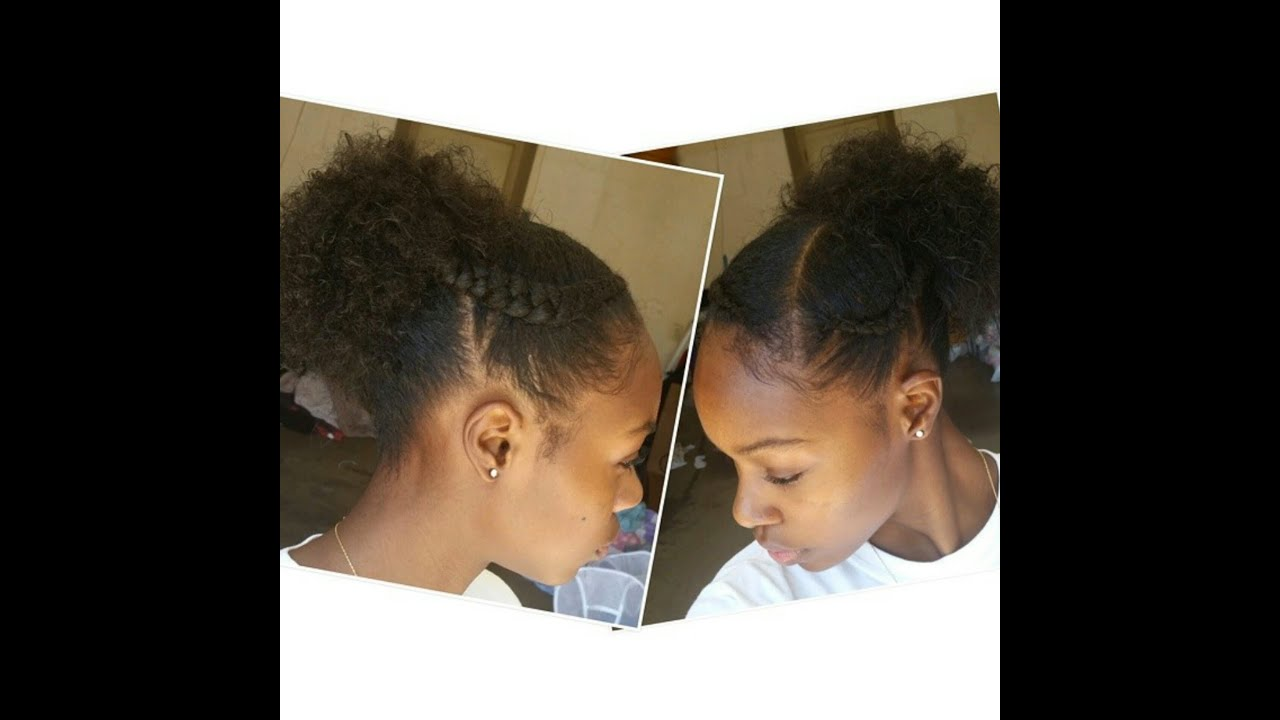 Easy Simple Braids And Puff Style On Transitioning Hair YouTube