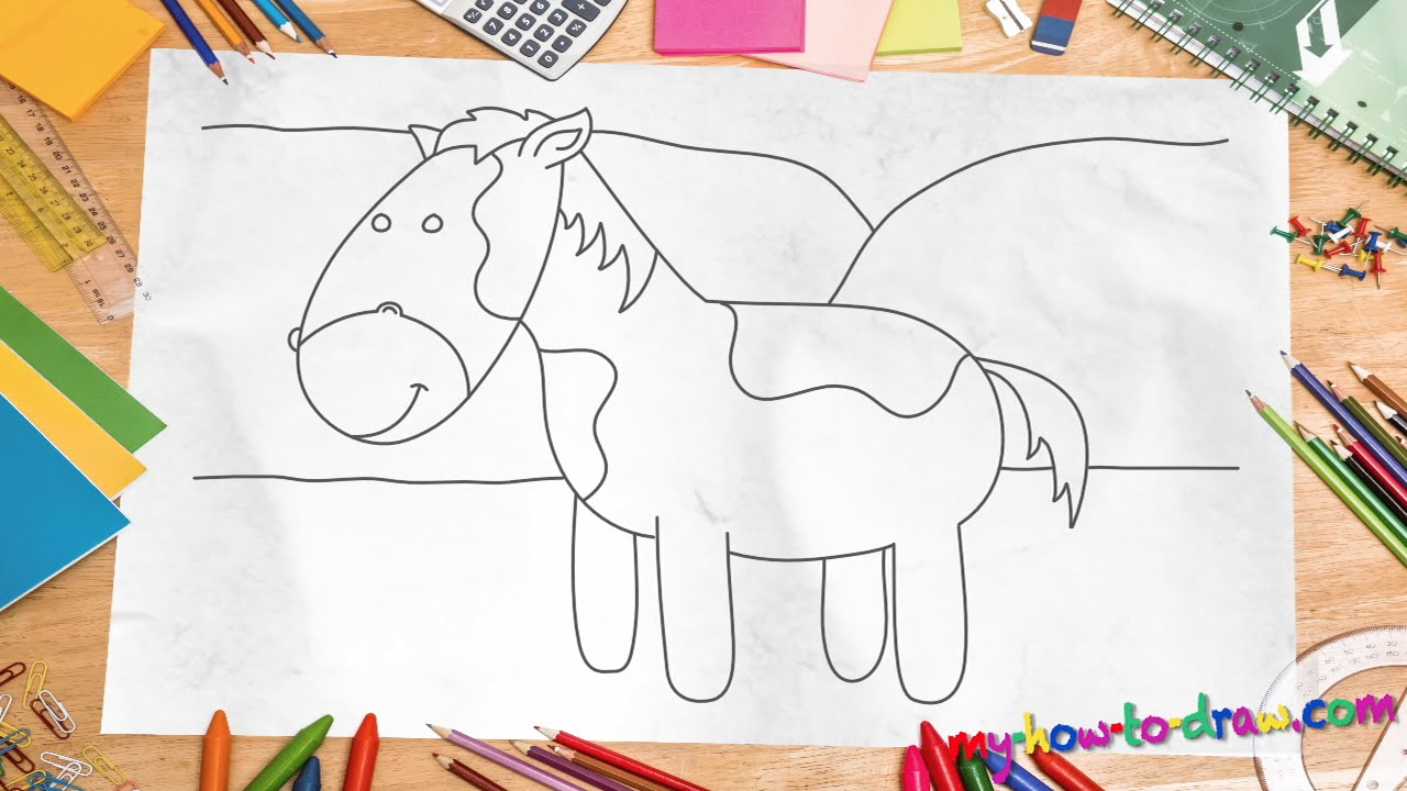 How To Draw A Horse  Easy Stepbystep Drawing Lessons For Kids  Youtube
