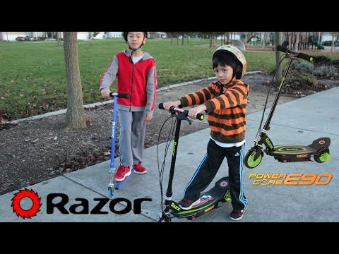 RAZOR Electric Scooter Power Core E90 With Kids Playing