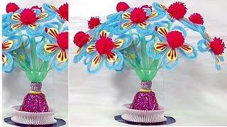 Woolen flowers making idea/Work education School project/Paper cutting craft idea