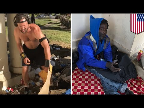 Jogger Joe throws out homeless man's things, calls it trash - TomoNews