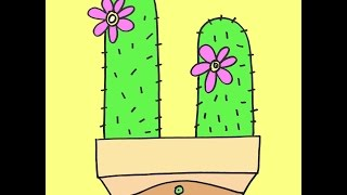 How To Draw A Cactus Plant Cartoon Step-by-Step For Beginners