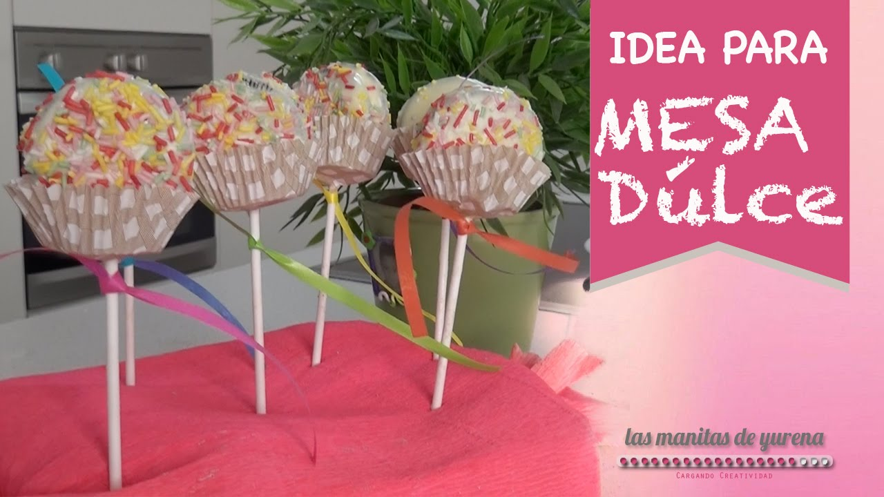 Idea para mesa dulce piruletas de oreo youtube for Decoracion para mesa dulce