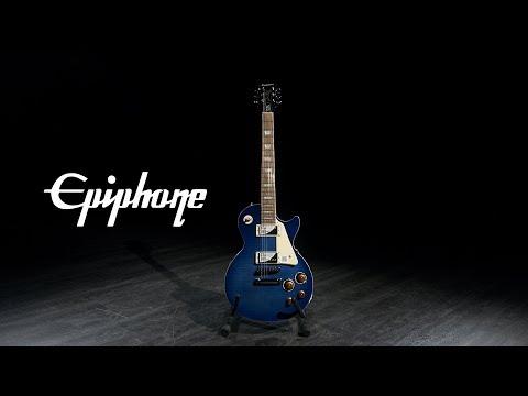 epiphone-les-paul-standard-plustop-pro,-trans-blue-|-gear4music-demo