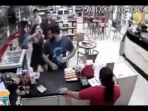 Student sparks gas station brawl after groping in Brazil