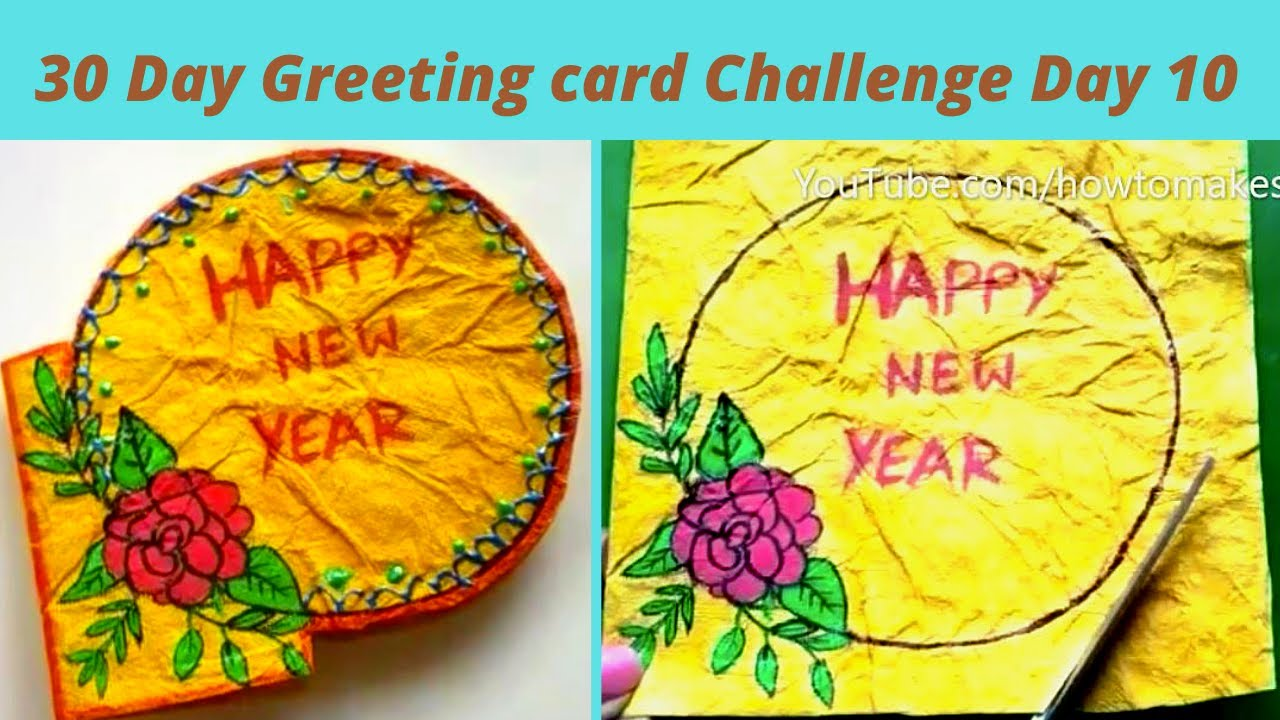 30 Day Greeting card Challenge Day 10, @how to make simple handmade New Year Greeting Card - 2021,