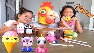 Elif Öykü ve Masal'a Squishy Dolu Sürpriz Paket! Squishy Toys Wall Collection - Family Fun Games