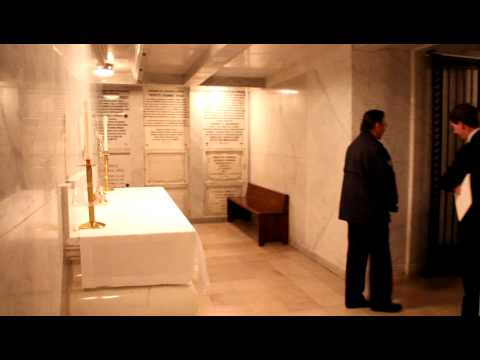 Rector of Cathedral Basilica in Philadelphia shows crypt where Cardinal Foley will be entombed