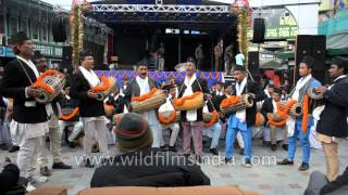 Group of Nepali folks play Madal drums