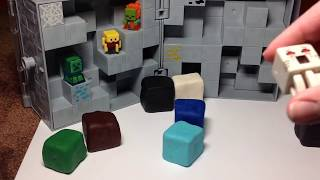 Minecraft play doh with mini figures reveal. New golden mini figure from treasure chest series!!!!!