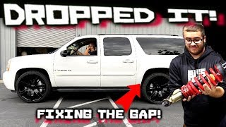 the perfect drop! Lowering the GMC Yukon XL - fender Gap FIXED! Belltech Suspension