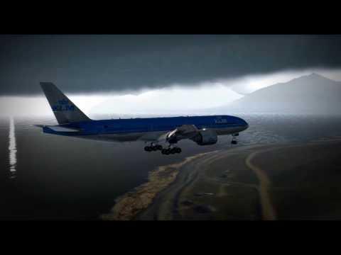 X-Plane 11 - Boeing 777-200LR - ENSB Svalbard Airport, Longyear -  Stormy Weather - Hard Landing