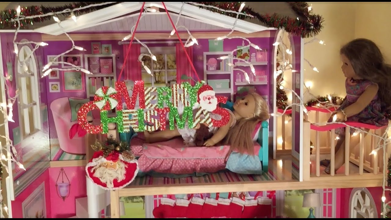 Decorating American Girl Doll House for Christmas - YouTube