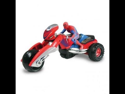 Hombre ara a montar a moto juguetes infantiles spiderman juguetes youtube - Spider man moto ...